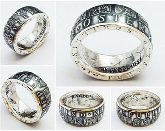 Austrian Silver Coin Ring - 50 Shilling Austria - Jewelry - Österreich - Österreichisch Ring der Münze - for men - for him - 8-14 sizes