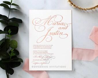 Classy Calligraphy Wedding Invitation, Real Foil White 116100