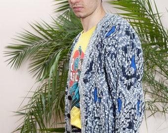 Vintage cardigan•90s blue cardigan•Vintage clothing•90s Cardigan• Knitted mens cardigan•Multicilor geometric pattern sweater