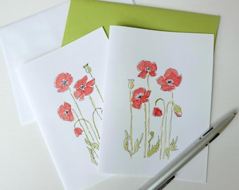 Poppy Art/Poppies Art/Poppies Cards/Hand-Painted Cards/ Poppies Watercolour/Red Poppy- Wedding Invitations, Bridal Shower Gifts, Blank Cards