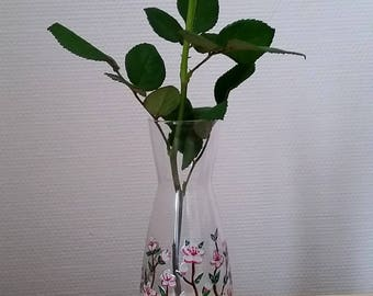 Decanter or vase hand painted: the cherry blossoms