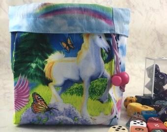 Unicorn Dice Bag - Large Unicorn Dice Bag - Rainbow Dice Bag - Made with Unicorn/Rainbow Fabric - Colorful Dice Bag - Dice Pouch - D20