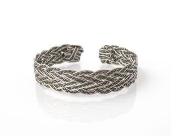Silver Bracelet, Wire Wrap Bracelet, Wire Wrapped Jewelry, Handmade Bracelet, Braided Bracelet, Woven Cuff, Silver Jewelry, Gift For Her