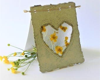 Wedding congratulations flower heart white cards, Handcrafted greeting wedding floral card, Eco friendly greeting cards