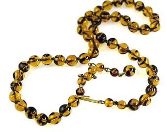 Golden Honey Amber Glass Bead Necklace - Vintage Tiger Stripe Adjustable Choker Length Necklace - Vintage Faux Amber Necklace 128