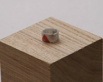 Giselle (Coral & pink) beaded ring