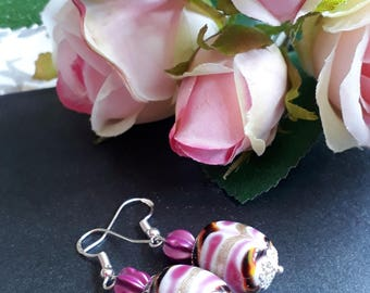 Pretty in Pink and Gold Silver Earrings