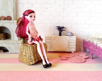 Miniature Ikea rocker chair. 1-6 scale wicker furniture. Artisan and unique seat for doll. Ooak miniature for 12 inch doll. Make to order