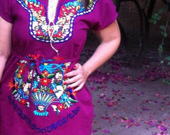 Mexican Embroidered Dress ,embroidered dress, Frida Kahlo Dress, hippie boho dress, mexican dress, Shipping ALL the world. SHORT DRESS