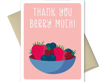 Thank you Cards - Greeting Cards - Thank you notes - Note Cards - Food cards - Thank you card set - Pun Cards - Thank You Berry Much