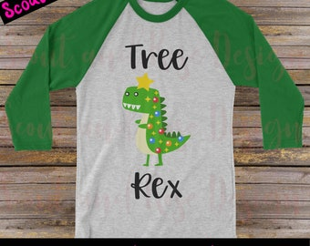 Tree Rex T-Rex Dinosaur Christmas Original SVG DXF PNG Layered Cut File Cricut Silhouette Cameo Clip Art Htv Die Cutting Heat Transfer Vinyl