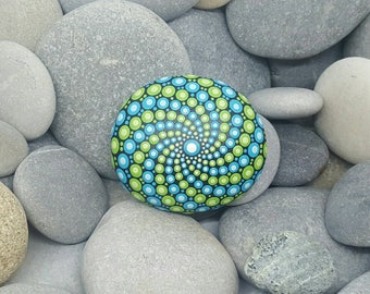 Green & Turquoise Mandala Stone - Painted Rock - Mandala Rock - Meditation - Zen - Dotilism - Rock Art - Mandala Art - Paint Stone