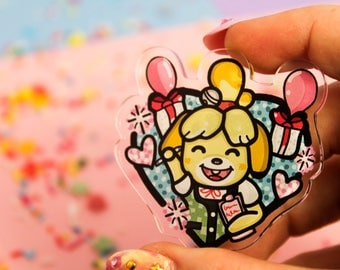 Isabelle at your service! - Laser Cut Illustrated Acrylic Brooch - tattoo flash design pin collar clip animal crossing new leaf