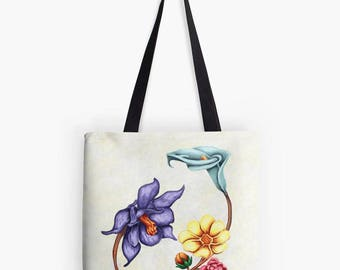 Colorful flower pattern printed on lightweight summer fabric white-reproduction art painting-digital tote bag unique art