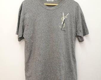 Vintage YSL Yves Saint Laurent T-shirt Big Logo on Chest