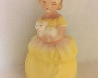 Girl in Yellow Dress Holding Kitten Garden Planter (#016)