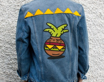 Cozy Burger Plant Customized Denim Jacket Size L