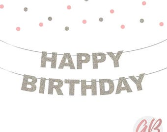 Happy Birthday glitter banner | Happy birthday bunting | Birthday decor | Party banner decoration | Party decor | Party supplies