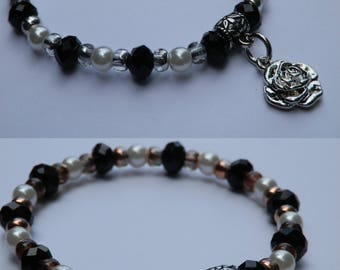 Elegant beaded bracelet with rose petals trailers in different variations