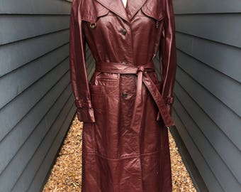 Burgundy Leather Trench Coat // Etienne Aigner Leather Jacket // Vintage Leather Jacket