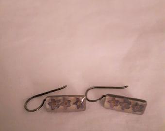 Vintage Sterling Silver - Resin Flower Dangle Earrings - 1960s