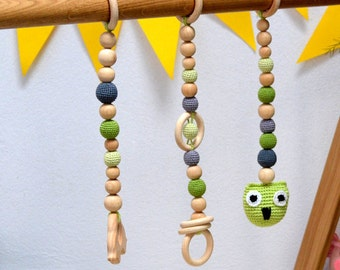 Natural wooden baby gym toy set, Unfinished wood Baby gym set, Baby fitness studio, Baby Christmas gift, Baby activity center, Teething toys