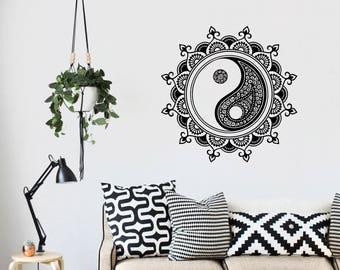Yin Yang Mandala Removable Vinyl Wall Decal Sticker Interior Design