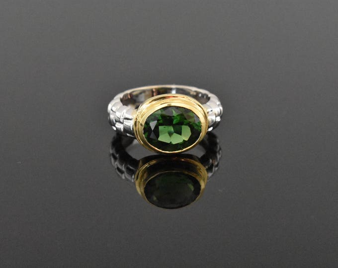 18K White & Yellow Gold Green Tourmaline Ring | Handmade Fine Jewelry | Vintage Inspired Ring | Unique Engagement Ring | Statement Ring