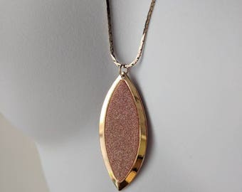 White Gold Hue Blush Oval Necklace on matching chain