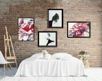Boho Wall Decor Set, Large Living Room Printable Wall Decor, Boho Gallery Wall, Romantic Bedroom Wall Decor, Flower Painting Gallery Wall