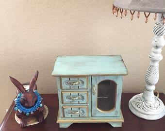 Jewelry box ,Duck Egg Blue and Gold,Shabby Chic Jewelry Box, Distressed, Hand painted Jewelry Box,Cottage style, Wooden,Upcycled, Vintage,