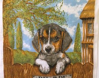 Ulster Irish linen tea towel Guide Dogs for the Blind merchandise Beware of Dog Made in Ireland Pure linen Vintage tea towel