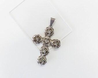 Vintage Silver Rose Cross Pendant - Mexico 925 TG-381