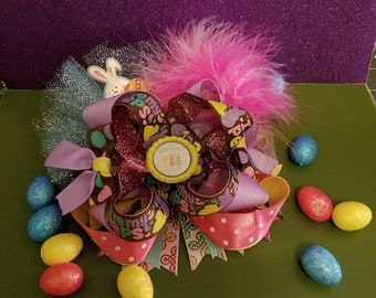I Love my Peeps! Triple Stacked Boutique Hairbow/ Easter Hairbow