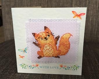 Cross Stitch Fox Greeting Card