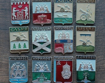 A  collection of vintage badges, a collection of old Cities. 12 pcs. set#34