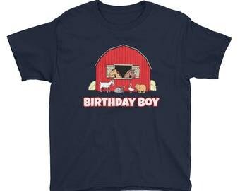 Birthday Boy Farm Animals Farmer Barn Birthday Party Theme Petting Zoo First Second Third Fourth Fifth Sixth Year Old Kids Shirt