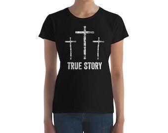 Christian Easter Shirt - Women's Scripture Christian Shirt - Christianity Resurrection Day Jesus Christ Bible Verse Shirt for Women