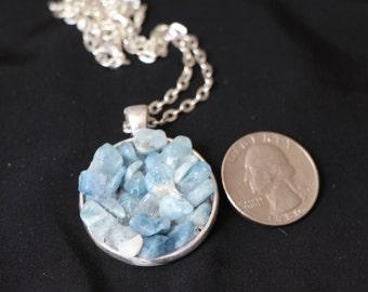 Aquamarine, silver pendant necklace
