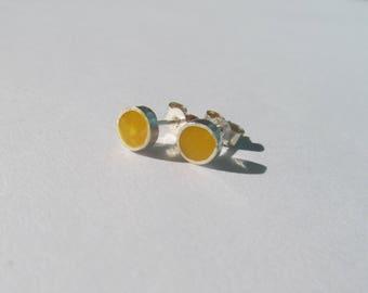 Yellow Resin Sterling Silver Earrings
