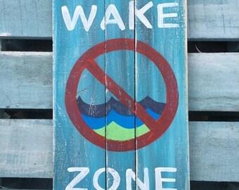 No wake zone painting, Pool deck art, Marine art, Coastal patio art, Coastal Decor