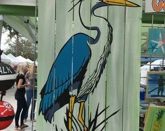 Great Blue Heron Pallet Art, Ocean art, Reclaimed wood, Bird art, Bird Wall Hanging, Coastal Decor