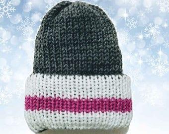 Double Layer Knit Newborn Hat