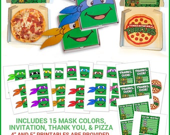 TMNT Pizza Box Invitations & Thank You Printables -- DIGITAL -- Make your own Teenage Mutant Ninja Turtles mask favor boxes -- 15 Colors!