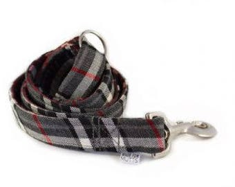 Grey Tartan Dog Lead