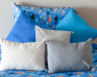 Coordinating Flippable Pillow Cover Set - Blue/Gray with Orange Accents - Sharks