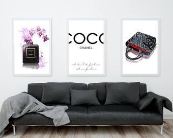 Chanel Wall Art, Coco Chanel Perfume, Coco Chanel Quote Chanel Handbag Coco Chanel Prints Coco Chanel Poster Fashion Wall Art Fashion Prints