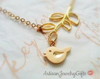 Matte Gold Cute Bird Branch Necklace Cute Bird Necklace