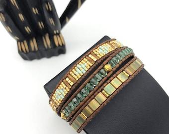 Khaki Mint and gold triple wrap bracelet