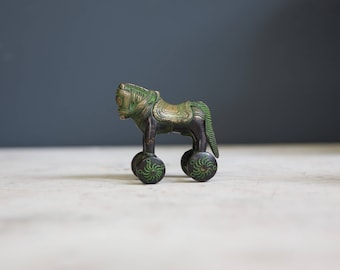 Antique Indian Temple Brass Toy Horse with Wheels
